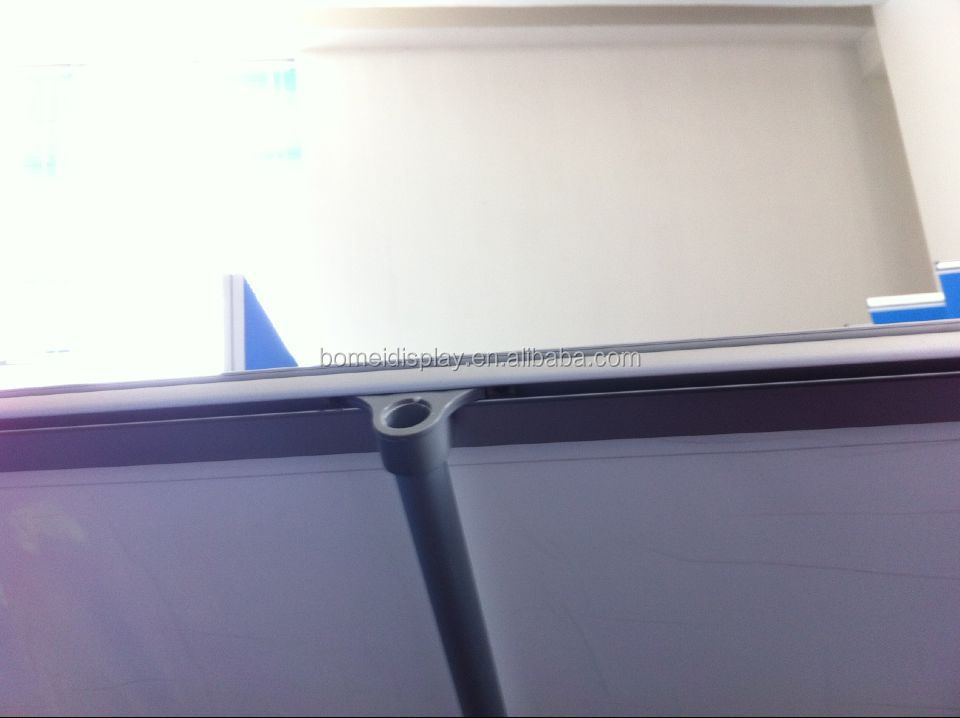 model 2 roll up screen with aluminum feet with plastic hook bar promotion roll up