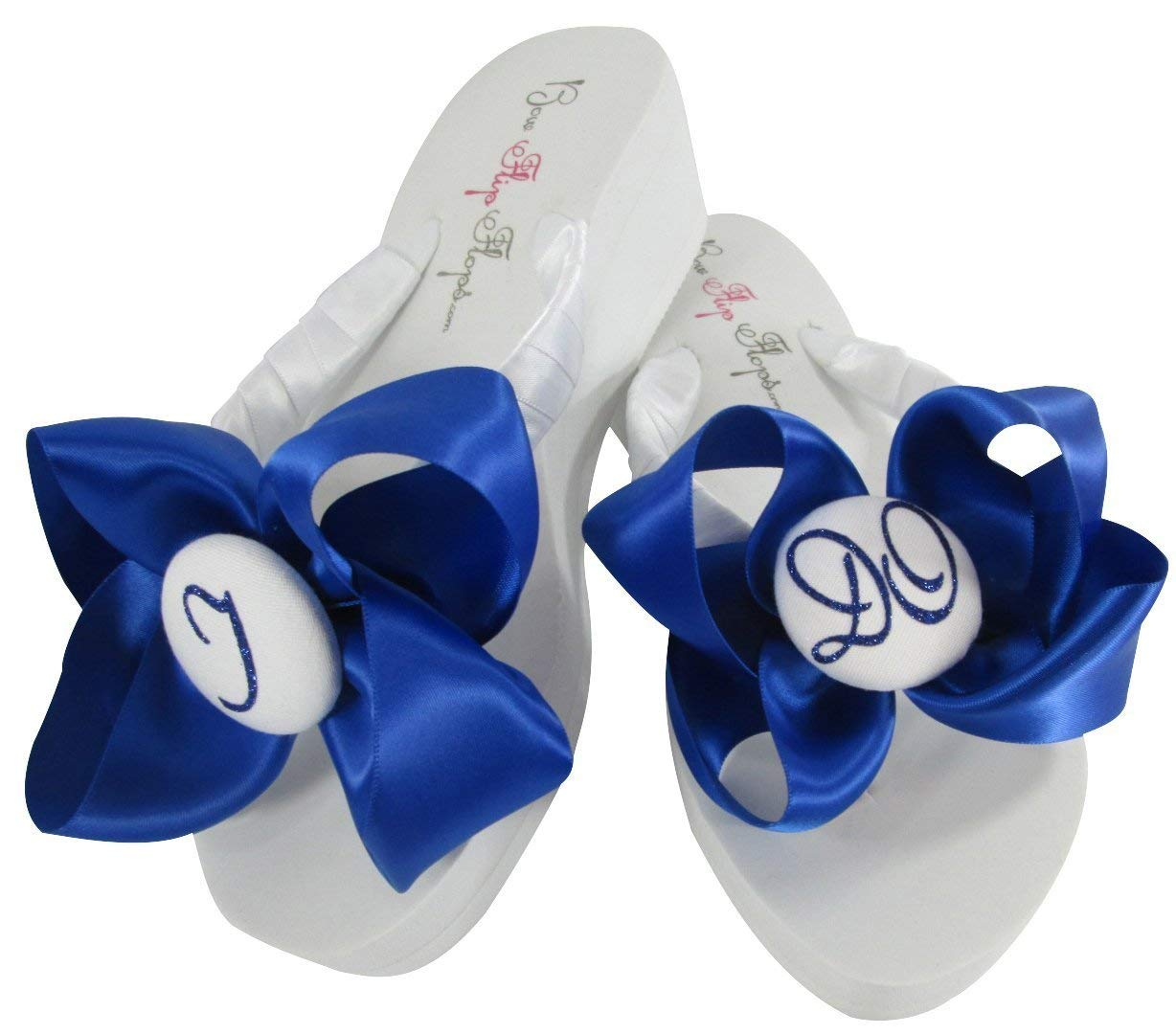 fcc1e278791 Get Quotations · White   Royal Blue Wedge Glitter I Do Bow Flip Flops for  the Bride