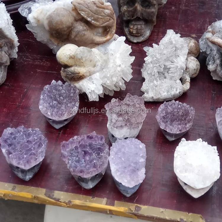 Wholesale natural amethyst crystal decorative animals carving hedgehog cluster for gifts