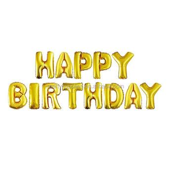 Silver Gold Letter Balloons Happy Birthday Aluminum Foil Balloon Classic Toys Helium Ballon