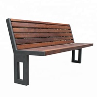 Custom make steel and merbau solid wood outdoor wooden bench
