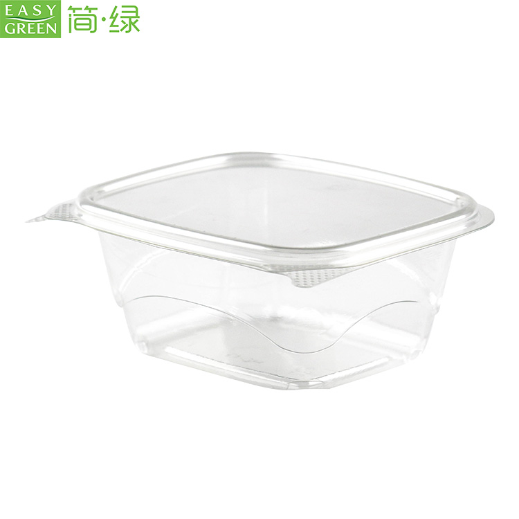 Easy Green PLA disposable clamshell 100% biodegradable plastic fruit salad takeaway container packaging box tableware for food