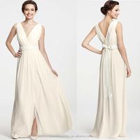 WD1921 sleevless v neck and v back ribbons sash attached waist tie bow at back no train under 100 dollar informal wedding dress