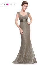 Серое кружевное вечернее платье русалки 2020 Ever Pretty, блестящее, с v-образным вырезом, элегантное, Персиковое, длинное вечернее платье(Китай)
