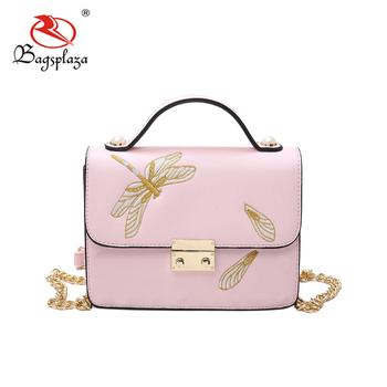Fj36 045 Online China Pink Small Clutch Shoulder Bag Dragonfly Handbags