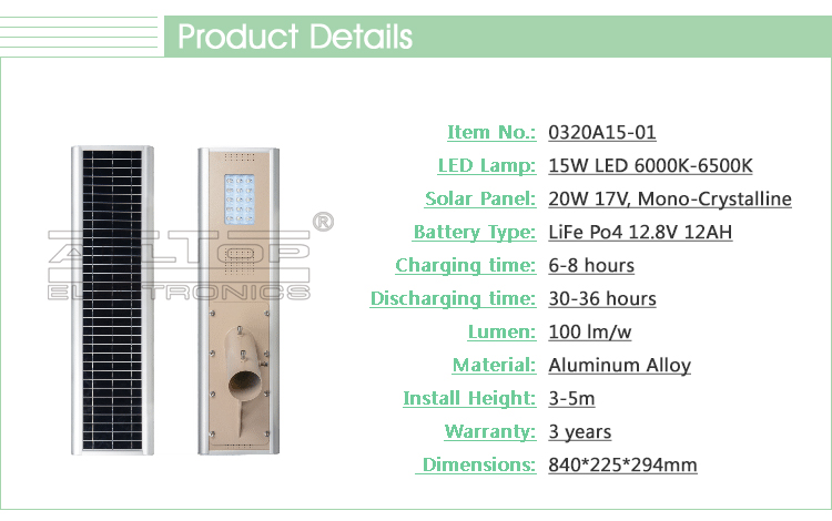 Outdoor IP67 15w waterproof bridgelux cob solar panel lifepo4 battery for solar street light