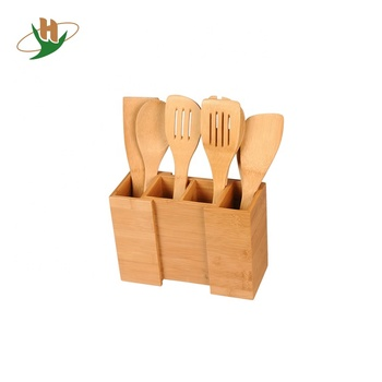 Vintage durable expandable dividers wood bamboo utensil organizer holder for promotion