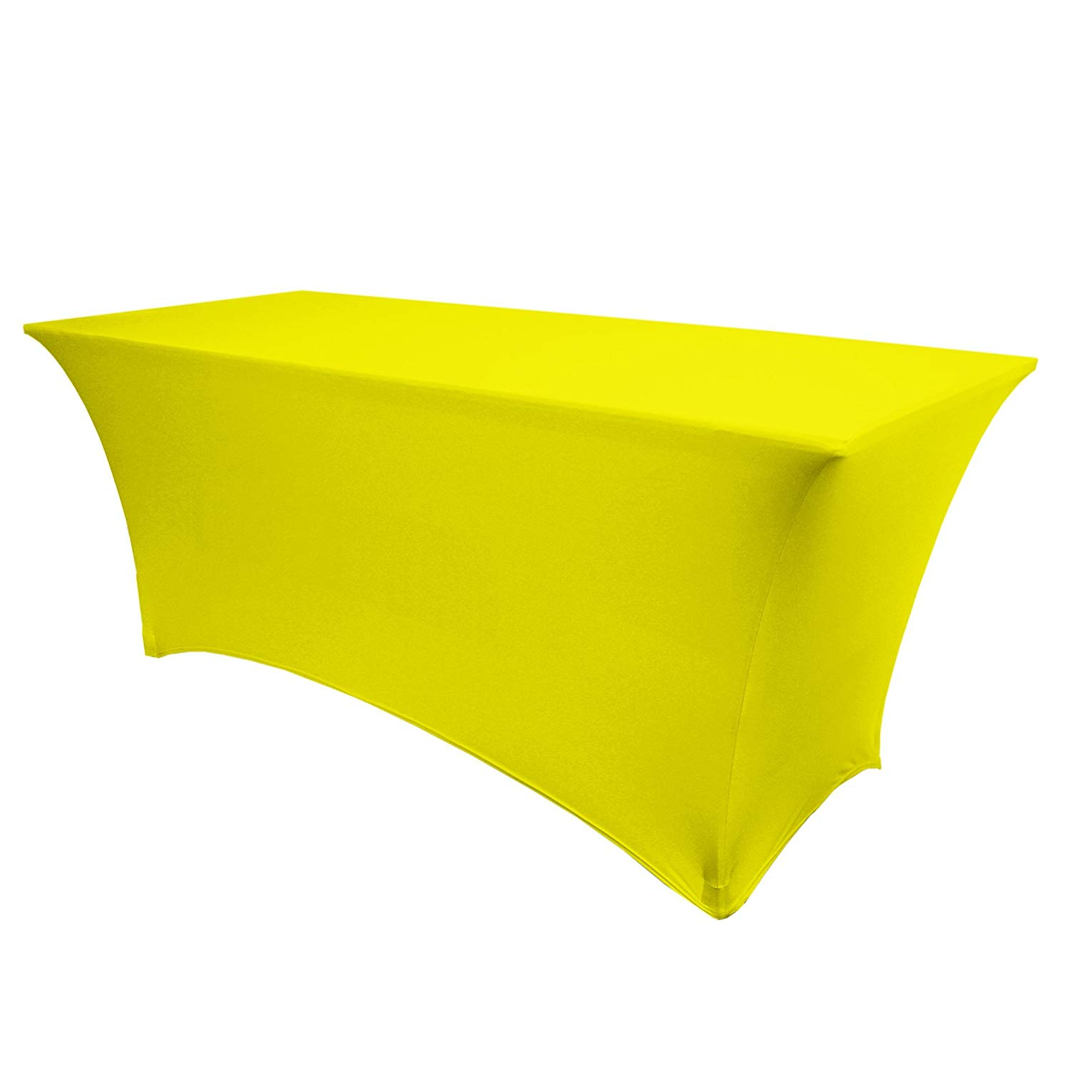 """Ultimate Textile -5 Pack- 8 ft. Fitted Spandex Table Cover - for 18 x 96-Inch Tradeshow, Classroom and Folding Rectangle Tables - 36"""" H, Neon Yellow"""