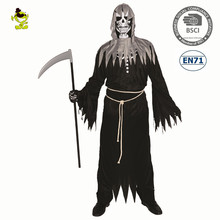 <span class=keywords><strong>Halloween</strong></span> Kostuum Carnaval Party Volwassen Angel van Death Party Cosplay Kostuums man Zwart Skelet Gewaad met Kap