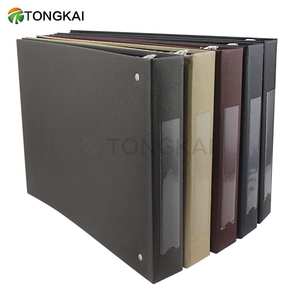 Premium Black Pu Leather Business Check Binder 7 Ring 3 On
