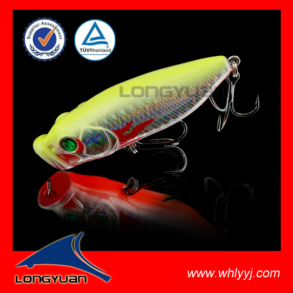 6.5cm 10g High quality gt popper topwater fishing lure with holographic laser paper from China H010-65