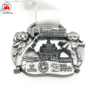 high quality sport antique silver sport taekwondo medal