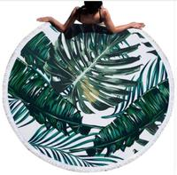 Urijk Printed Tropical Leaves Flower Beach Towel Round Microfiber Beach Towels for Living Room Home Decor Boho Style Bath Towels