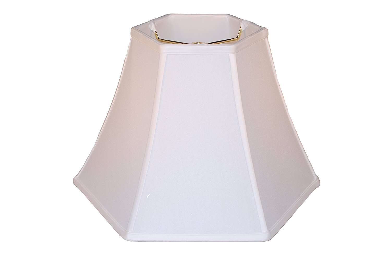 "16"" Anna white hexagon bell silk lamp shade"