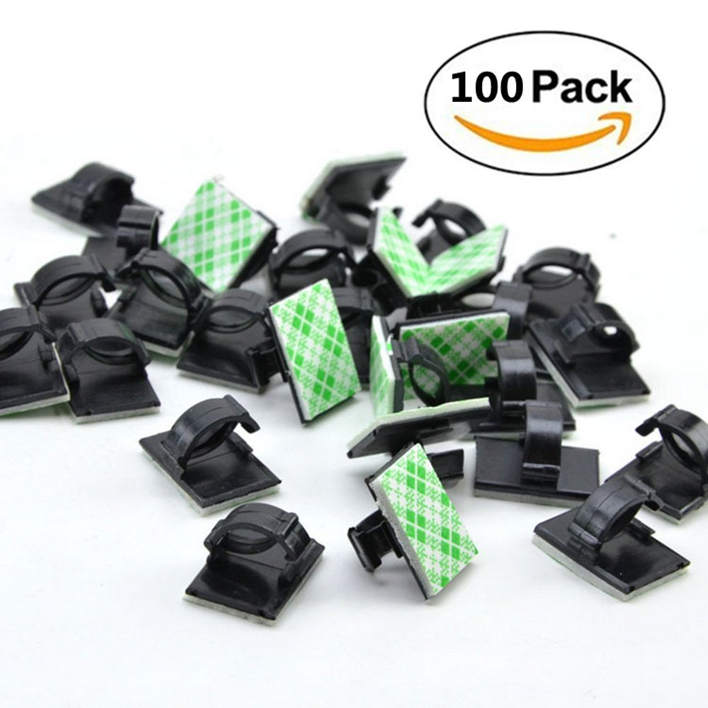 c401d68a7189 Get Quotations · UPZHIJI 100 Pieces Adhesive Cable Clips Wire Clips Cable  Wire Management Wire Cable Holder Clamps Cable