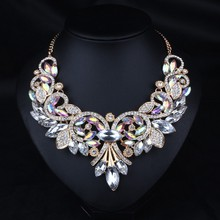 AB Shine Crystal Flower Gold Plated Chain Choker Statement Necklaces Bib Collar