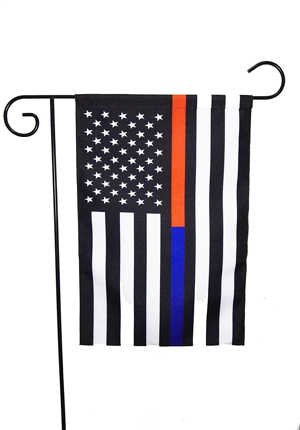 ERT Thin Blue Line And Thin Red Line Flag Garden Flag 12.5 x 18 Inch Made By Oxford Honoring Law Enforcement Officers and Firefighter Flags