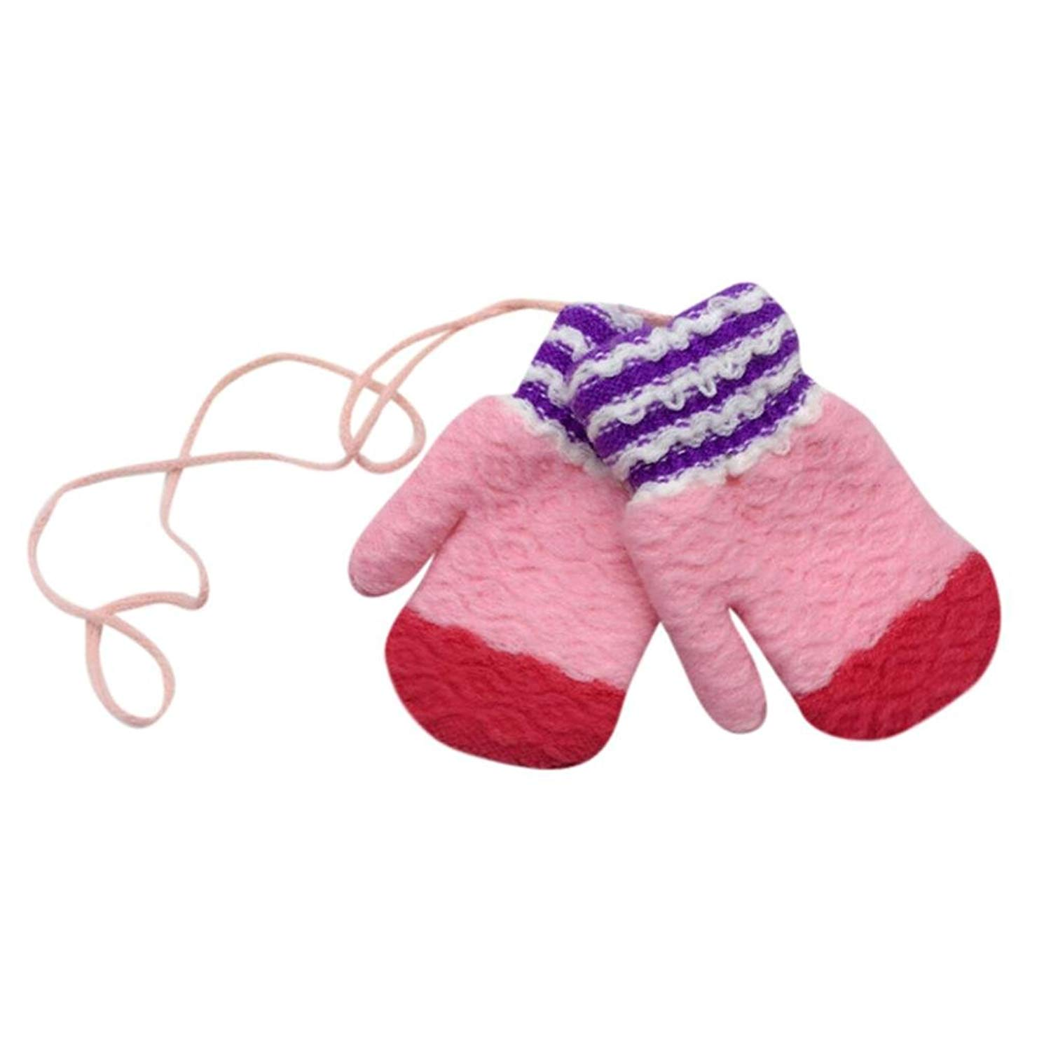 Hot Sale!!! Toddler Baby Gloves,Jushye Toddler Baby Cute Thicken Striped Hot Girls Boys Of Winter Warm Gloves Mittens With String