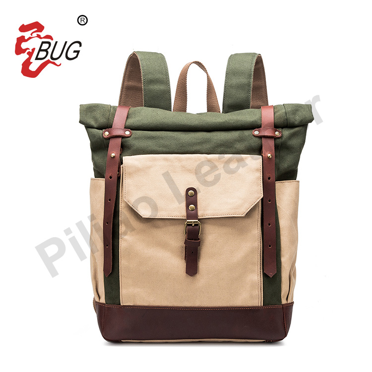 2017 High Quality Factory Price 16oz Waxed Canvas Waterproof Backpack School Bags
