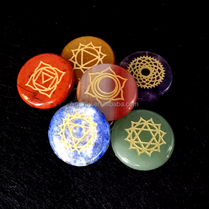 Polished Palm Pocket Stone Reiki Balancing Healing Crystal 7 Chakra Stones Sets