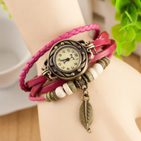 Classic Genuine Leather Bracelet Watch Women Vintage Watch Korean Fashion laef wristwatch Girls Gift MX282V
