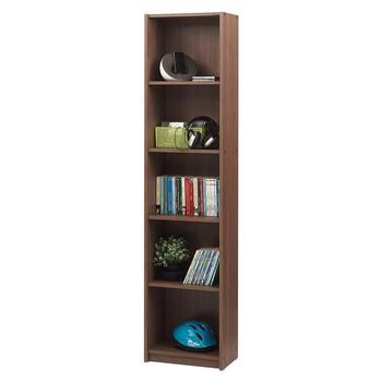 5 planken smalle boekenkast noce walnoot kleur