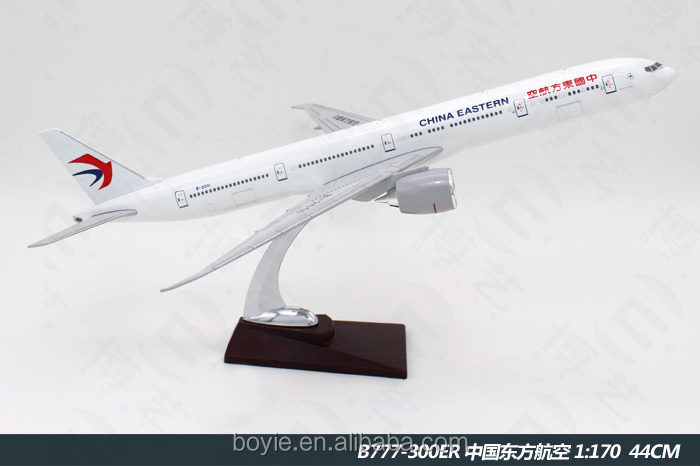 Collectible 44CM 777 boeing China Eastern Airlines Diecast Aircraft Sculpture Model of Aeroplane with printing logo