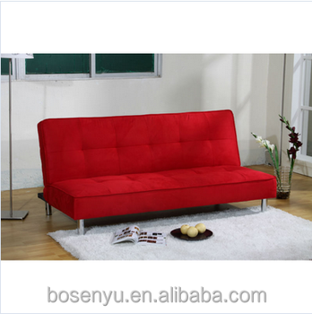 Cheap Pu Futon Sofa Bed Fabric Set China Red Furniture With Wooden Legs