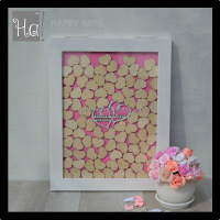 Wedding Guest book frame with pink backboard and natural color heart