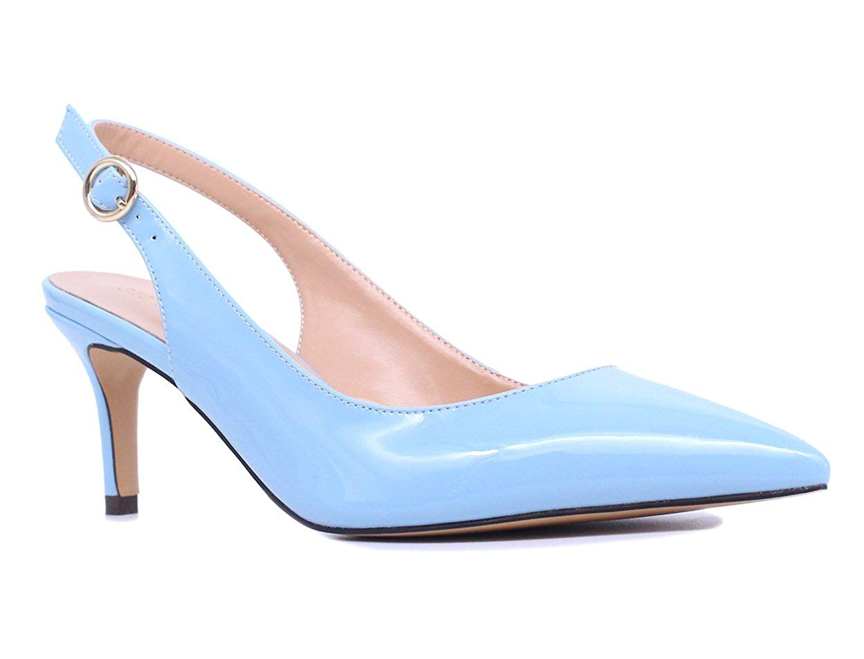 26664357cc8 Get Quotations · SUNETEDANCE Women s Slingback Pumps Pointed Toe Kitten  Heels Sandals Slip On Stiletto Mid Heels Shoes