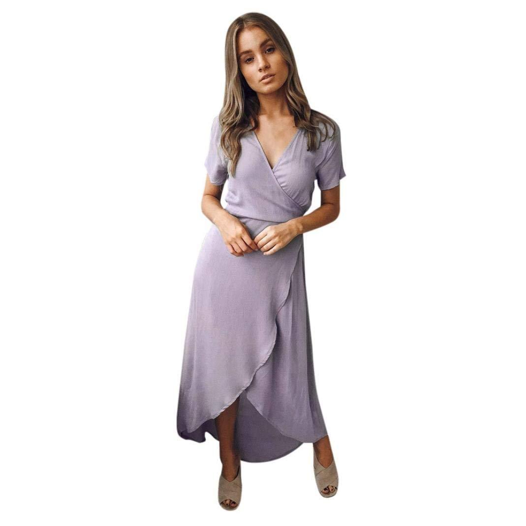 01685fab3d8a Get Quotations · Perman Cheap Women Dresses, Summer Short Sleeve Sexy Deep  V Neck Irregular with Waistband Dress