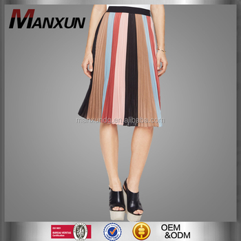 25446f01c51 2017 Latest Middle Design Ladies Rainbow Skirts Colors Elegant Dress Slim  Fit Pleated Skirt For Women