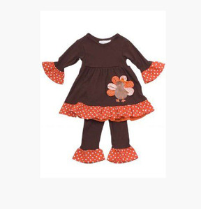 holiday girls baby cotton cute Turkey long sleeve ruffle boutique with polka dot ruffle pant thanksgiving children clothing set