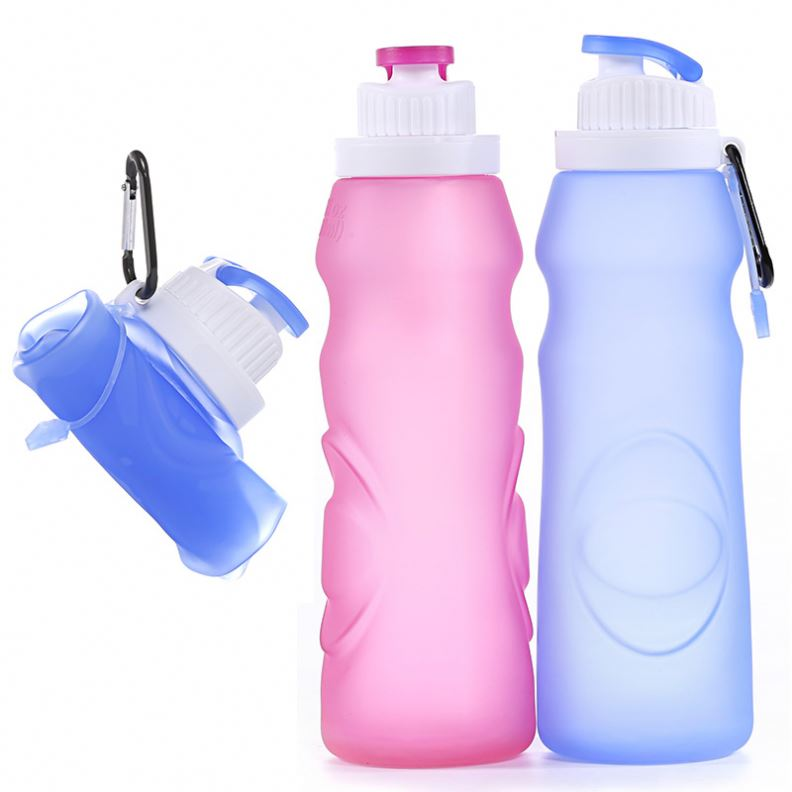Flip Top Collapsible Silicon Rubber Sport Water Bottle Blue For Running