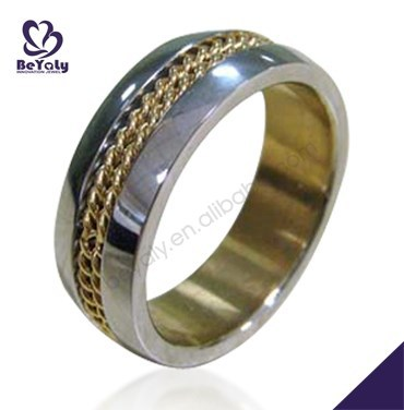 14k gold plated chain center inlaid mens wedding band stainless steel ring