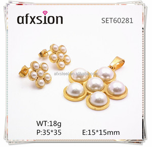 AFXSION pearl jewelry,Best Selling Fashion Stainless Steel Mother of Pearl Jewelry Set