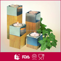 Gifts & decorations 4pcs set tealight wooden candle holder