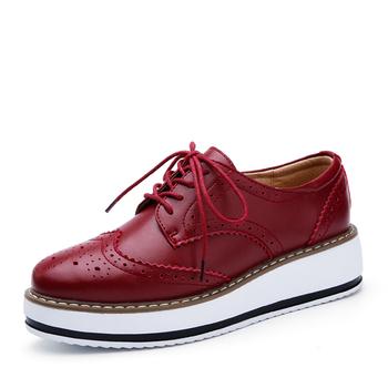 Zapatos De Cuero De Vaca De Alta Calidad Con Cordones Para Mujer,Zapatos De Plataforma,Zapato De Mujer De Moda,Brogues Buy Zapatos Brogue Con