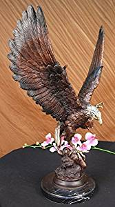 ...Handmade...European Bronze Sculpture Signed Two Tone Moigniez Magnificent Large American Eagle (1X-56444M) Bronze Sculpture Statues Figurine Nude Office & Home Décor Collectibles Sale Deal Gifts