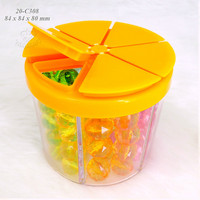 Factory direct wholesale round shape 6 cell plastic jar for sprinkles