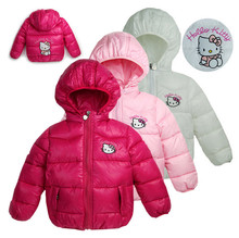 2014 new Hello Kitty Girl's Winter jackets hooded children's Coats winter warm Outerwear & Coats 100% cotton-padded jackets