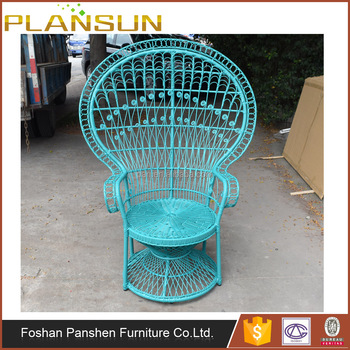 Classic Indoors Furniture Intricately Woven Rattan Peacock Style Chair