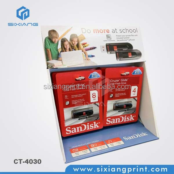 POP USB Flash Drive Corrugated Cardboard Counter Display For Promotion