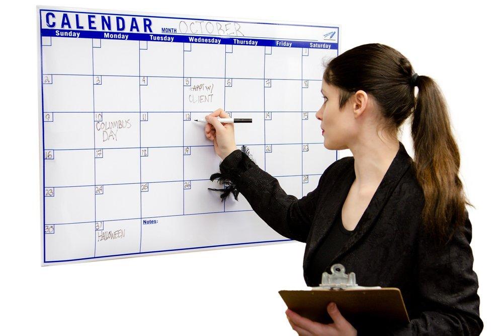 "One Month Dry Erase Calendar 24""x36"" - Flexible Calendar Whiteboard - Large Monthly Calendar Dry Erase"