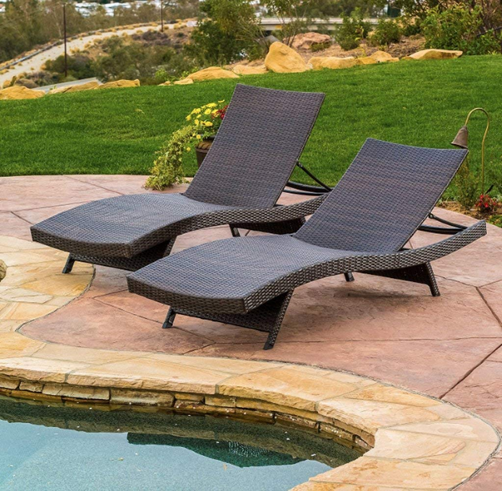 Portable Chaise Lounge, Wicker Material, Brown Color, Set Of 2 Pieces, Ideal For Outdoor Spaces, Easy Transportation, Lightweight, Stylish Design, Sturdy & Durable Construction & E-Book Home Decor