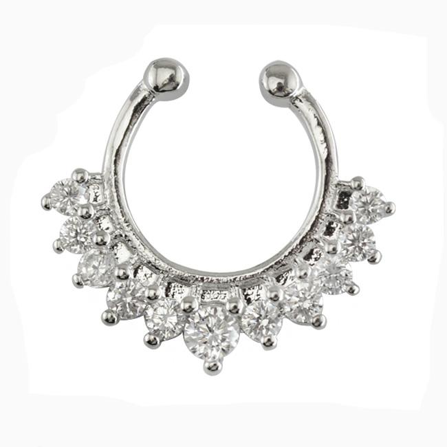 New U Shape Half Loop Crystal Faux Septum Ring Free Nose Ring
