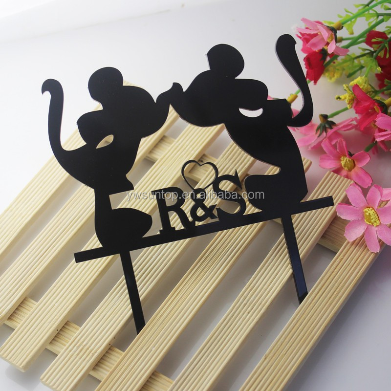 New Lovely kissing Minnie And Mickey Mouse Acrylic Cake Topper Birthday Wedding party decoration