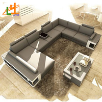 Modern Designs Luxury Hotel Home Furniture L Shaped Corner Sofa Set China Genuine Leather Sofa