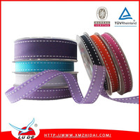 Stitched Ribbon Multicolor Printed White Edge Stitched Grosgrain Ribbon