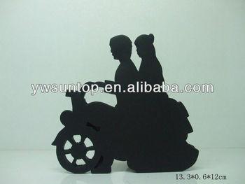 Motorbike Wedding Couple Shadow Design Cake Topper Home Decoration